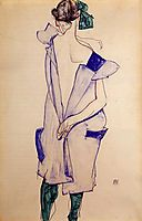 Standing Girl in a Blue Dress and Green Stockings, Back View, 1913, schiele