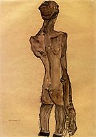 Standing Male Nude, Back View, 1910, schiele