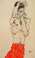 Standing Male Nude with a Red Loincloth, 1914, schiele