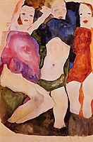 Three Girls, 1911, schiele