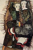 Two Girls on a Fringed Blanket, 1911, schiele