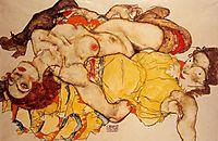 Two Girls Lying Entwined, 1915, schiele