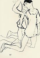 Two Kneeling Figures (Parallelogram), 1913, schiele