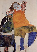 Two Seated Girls, 1911, schiele