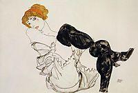Woman in Black Stockings, 1913, schiele