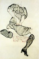 Woman with Black Stockings, 1912, schiele