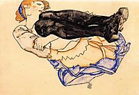 Woman with Blue Stockings, 1912, schiele