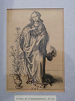Engraving on copper of the Annunciation, c.1480, schongauer