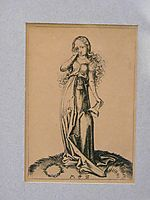 Engraving on copper of a Foolish Virgin, c.1480, schongauer