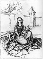 Madonna and Child in the Couryard, c.1480, schongauer