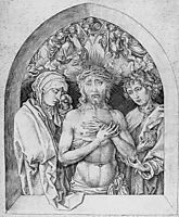 The Man of Sorrows with the Virgin Mary and St. John the Evangelist, 1475, schongauer