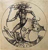 Wild man with shield, 1490, schongauer