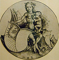 Wild woman with shield , 1490, schongauer