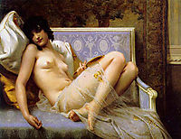 Nude Young woman on a settee, seignac