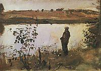 Artist K. Korovin on the river bank, 1905, serov