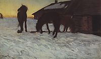 Colts at Watering Place. Domotcanovo, 1904, serov