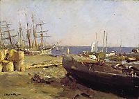 Fishing vessels in Arkhangelsk, 1894, serov