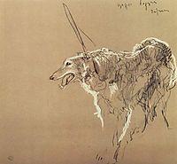 Greyhound royal hunting, 1902, serov