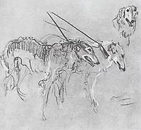 Greyhounds royal hunting, 1901, serov