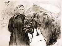 In a Village. Peasant Woman with a Horse, 1899, serov