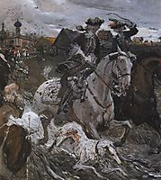 Peter II and Princess Elizabeth Petrovna Riding to Hounds, 1900, serov