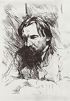 Portrait of the artist-engraver V.V. Mate, 1899, serov