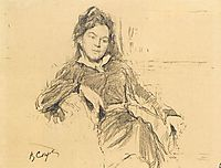 Portrait of the artist A.P.Ostroumova-Lebedeva, 1899, serov