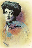 Portrait of Helena Ivanovna Roerich , 1909, serov