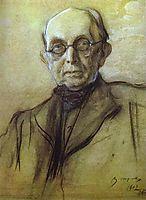 Portrait of K. Pobedonostsev, 1902, serov
