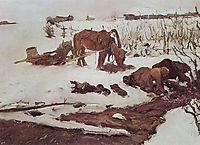 Rinsing Linen. On the River, 1901, serov