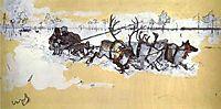 Tundra. Travelling by Deer, 1896, serov