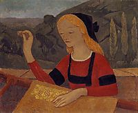 Embroiderer in a Landscape of Chateauneuf, 1910, serusier