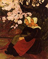 Two Breton Women under a Flowering Apple Tree, 1890, serusier