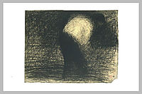 At work the land: man-s face in profile, leaning forward, seurat