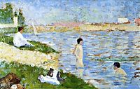 Bathers in the water, 1883, seurat