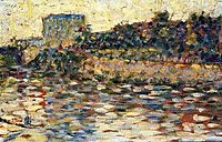 Courbevoie, Landscape With Turret, 1884, seurat