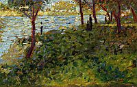 Landscape with Figure. Study for -La Grande Jatte-, 1885, seurat