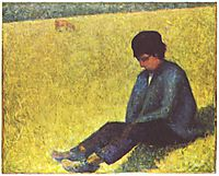 Peasant boy sitting in a meadow, 1883, seurat