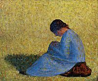 Peasant Woman Seated in the Grass, 1883, seurat
