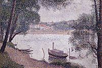 River Landscape with a boat, 1884, seurat