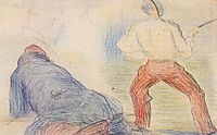 Soldier Fencing, Another Reclining, 1880, seurat