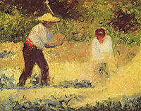 Stone-breaker, man and woman, Le Raincy, 1882-1883, seurat