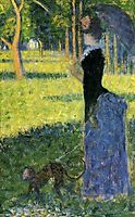 Woman with a monkey, study for Sunday afternoon, ile grande jatte, 1884, seurat