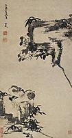 Bamboo, Rock, and Mandarin Ducks, shanren