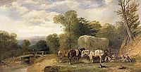 Carthorses and Rustics by a Stream , 1840, shayer