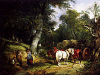 Carting Timber In The New Forest, shayer