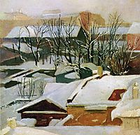 City roofs in winter, shishkin