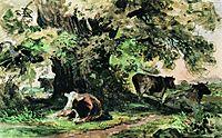 Cows under the oak, 1863, shishkin