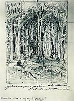 Forest with a seated figure, shishkin