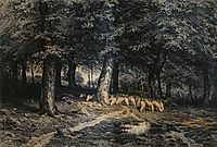 Herd of sheep in the forest, 1865, shishkin
